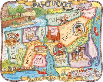 """Pawtucket Rhode Island Map Art Print 8""""x10"""""""