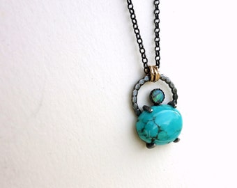 Turquoise and Opal Handmade Pendant