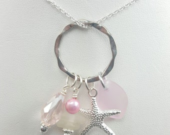 Sea Glass Necklace Sea Glass Jewelry Pink Sea Glass Jewelry Circle of Love Necklace Sea Glass Jewelry Beach Glass Jewelry N-419
