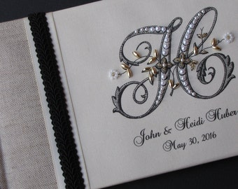 Wedding Guest Book, Guestbook, Monogram Guest book, Personalized, wedding signatures, Photo Album, Shower Gift, Wedding Album, Anniversary