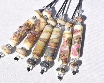 1 Earring Pair *Organic Mix Tubes* & 4 Matching Beads Ivory Raku Pink Handmade Lampwork Beads Beadfairy Lampwork SRA