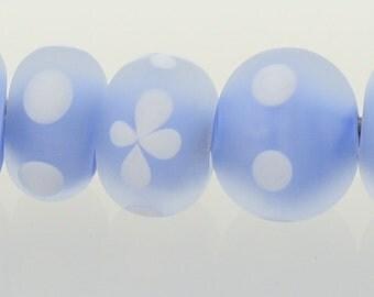 Handmade Lampwork Beads Sky Blue Frosted Polka Set