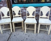 4 Painted Vintage Wooden Chairs