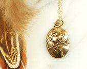 Wren Necklace - Bronze Bird Necklace with Gold Fill Chain