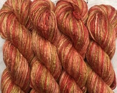 Hand Dyed Worsted weight Silk Yarn - Tomatoes (4)