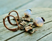 Czech Picasso Glass Rondelles and Antiqued Copper Bows - ice blue opal glass dangle earrings