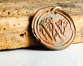 Wax Seal Stamp, W Initial, W Pendant, Monogrammed Pendant, Wax Seal Pendant, Copper Clay, PMC Clay, Etsy, Etsy Jewelry