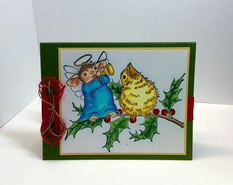 Hand Stamped Christmas Card - Handstamped Card- Hand Stamped House Mouse Card - House Mouse Joyful Noise Card