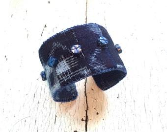 Indigo Shibori Adjustable Cuff