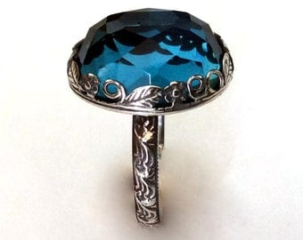 London topaz ring, Gemstone ring, Silver ring, statement ring, cocktail ring, floral ring, crown ring, birthstone ring - Seduction R2149