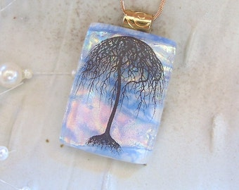 Fused Dichroic Glass Pendant, Umbrella Tree, Blue, Necklace Included, A1
