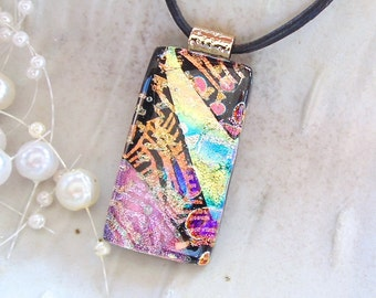 Dichroic Glass Pendant, Necklace, Fused Jewelry, Gold, Pink, One of a Kind, A4