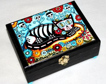 Large Jewelry Box, Cat Wood Box, Whimsical Wooden Box, Mexican Art, Ring Box, Day of the Dead, Blue Teal Turquoise Black