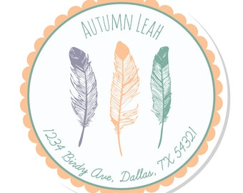 Personalized Stickers -- Feathers  -- Address Labels, Personalized Labels, Party Favor -- Choice of Size