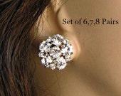 Bridesmaids Earrings,Set of 6,  Set of 7, Set of 8, Stud Earrings, Bridesmaids Gifts, Bridesmaids Jewelry, Post Earrings, Silver Earrings