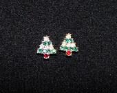 1980s, Tiny earrings, Rhinestone earrings, Christmas Trees, Christmas earrings, red white and green, Christmas tree earrings, Xmas tree
