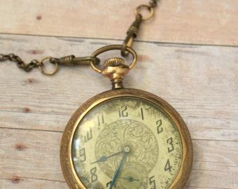 Antique Gold Filled Pocket Watch, Rose Etched, Steampunk Wedding, Vintage Watch