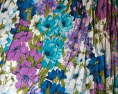 62 in long 1960s Penneys floral vintage curtains drapes teal green pink blue ivory purple 2 panels 40 wide lined pleated heavy cotton fabric