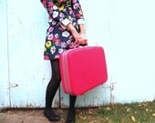Pink Samsonite Hard Bodied Suitcase // Fashionista // Polka Dot Interior // 1960's Pink Suitcase // Luggage // Retro