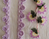 Soft pink color oya flowers and beaded lace