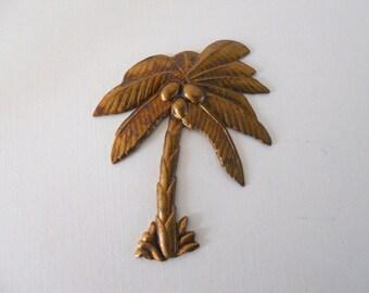 Vintage Brass  Palm Tree Stamping