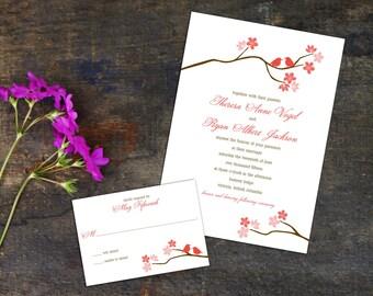 Cherry Blossom Wedding Invitation Set, Birds in a Cherry Branch Invitation, Wedding response cards, Thank you cards, Diy Digital Wedding