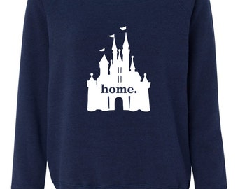 Disney castle home  wide neck Bella sweatshirt