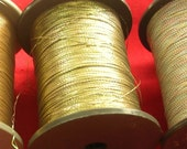 Vintage Japanese Thread -Washi Synthetic - Flat - Embroidery - Weave - Art Yarn - Iridescent Green Gold