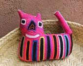Precious, Pink Mola Cat - Kuna Indian Reverse Applique
