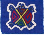 Simply Adorable Blue Turtle Mola Mini  - Kuna Indian Reverse Applique