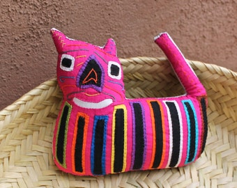 Precious, Pink Mola Cat - Kuna Indian Reverse Applique