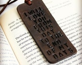 Custom quote leather bookmark. Personalized bookmark. Third anniversary gift. Bible Bookmark. 3rd Anniversary for Husband or wife
