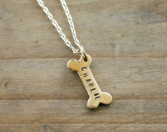 Bronze dog bone necklace with dog name to remember your pet - Dog Necklace with Name - Commemorate Dog Pet Gift