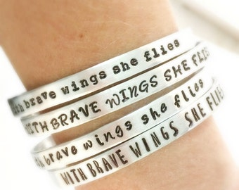 With Brave Wings She Flies Bracelet, Inspirational Quote Bracelet, Stacking Cuff Bracelet, Christmas Gift Women for Her Daughter Mom Jewelr