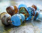 Lummi Naturalist Collection  -  WATERCOLOURS - Handmade Lampwork Beads by Ellen Dooley sra Ready to Ship