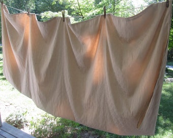Vintage Soft Creamy Beige Cotton Blend Tablecloth - Large Vintage Tablecloth