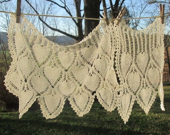 Two Hand Crocheted Vintage Doilies - Creamy White Pineapple