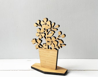 Wooden House Plant, spring decor, mothers day, shelf ornament, Mini Rose