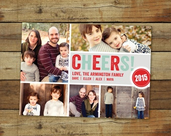 Christmas photo card, Christmas card, New Years card, photo collage - CHEERS