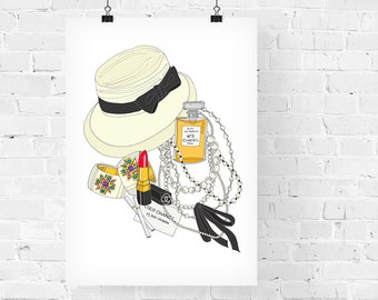 Coco Chanel What's in my Bag Portrait Fashion Illustration Art Print