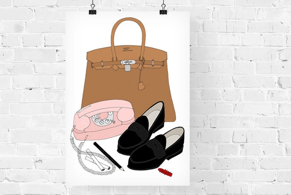 Margot Tenenbaum What's in my Bag Portrait Fashion Illustration Art Print