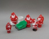 1950s Santa Candy Containers Hard Plastic Santa and Sleigh Christmas Decor