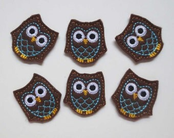 """Owls - Brown with Blue """"Feathers""""   Felt Machine Embroidered Applique - 432"""