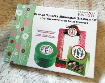 Justrite Damask Borders Monogram Stamper Kit, Harmony Classic Circle Stamper, Brand New, Never Used, Includes user guide