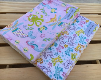 Baby Girl Gift / Baby Shower Gifts for Girls / Burp Cloths for Girls / Mermaid Baby Gifts