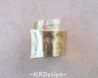 Gold-Brass-Hammered-Adjustable-Band-Ring / Free US Shipping