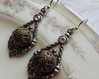 Antique Button Earrings, Baroque Hearts by Timeless Trinkets