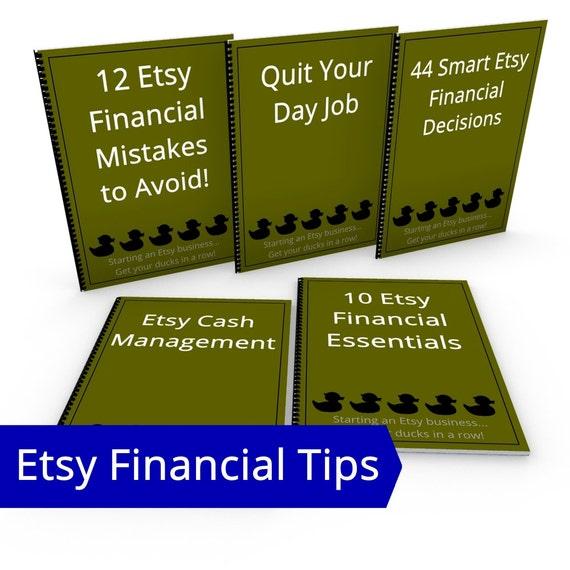 Start an Etsy Business Financial Tips Bundle, ALL Etsy Financial eBooks Hobby to Business Start a Small Business Small Business Resources