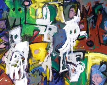 Wanderers 72 x 28 inch urban expressionism oil on canvas