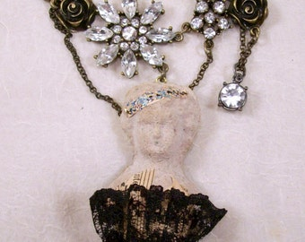 Tiny Dancer Paper Mache Frozen Charlotte Mixed Media Outsider Altered Art Ballerina Necklace Accessory Original Design